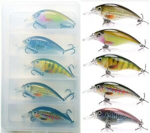 5x 65mm 10g REALISTIC FISHING LURES & CLEAR PLASTIC TACKLE BOX