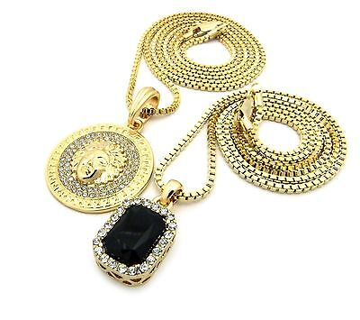 - Gold Medusa Square Ruby Pendant Charm Chain Necklace Jewelry N0085M