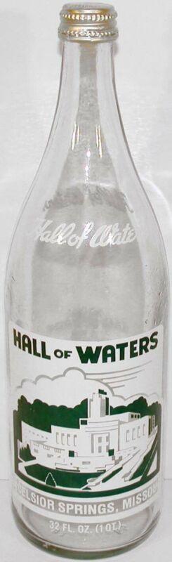 Vintage soda pop bottle HALL OF WATERS 32oz size Excelsior Springs Missouri nrmt