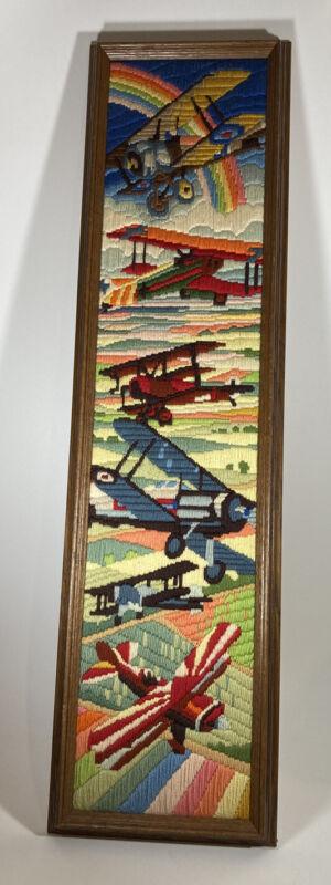 "Antique Airplane WWI Biplane Vtg Handmade 38""x10"" Crewel Yarn Picture Wood Frame"