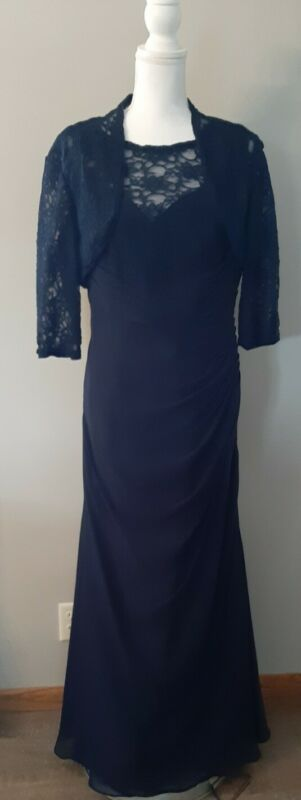 Mori Lee By Madeline Gardner Blue Lace Ruched Dress Party Formal 14 XL Large