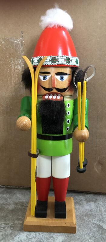 "Steinbach Vintage Skier 12"" Wooden Handmade Germany Nutcracker Poles Yellow"