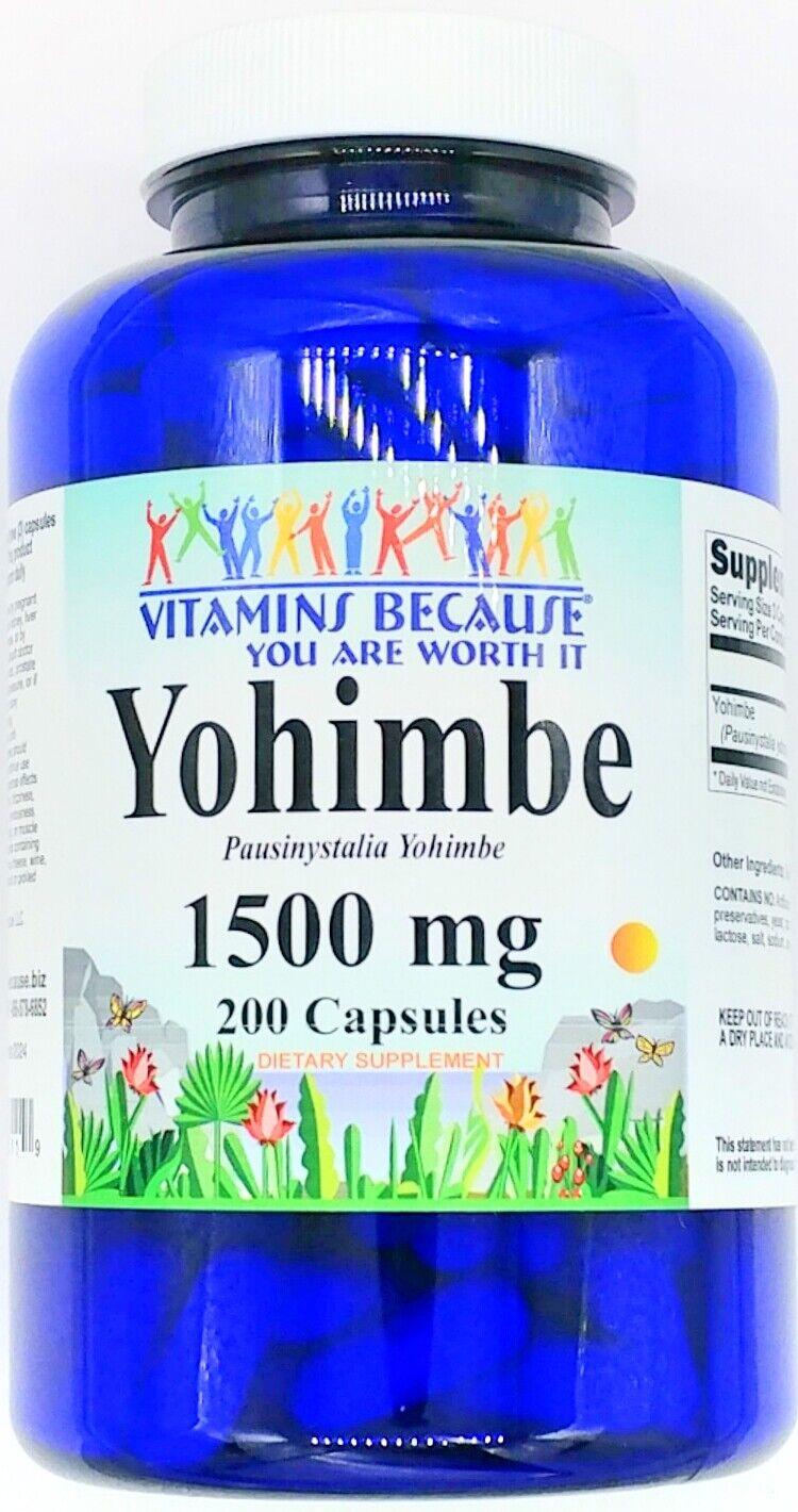 1500mg Yohimbe Bark 200 Capsule Male Mens Libido Enhancement Performance Pill VB