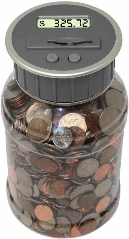 Digital Coin Bank Savings Jar Automatic Coin Counter Original Style, Clear Jar