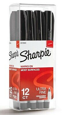 Sharpie Permanent Markers Ultra Fine Tip Black 12 Count