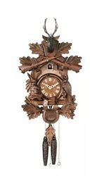 River City 1 Day Hunter's Hand-carved Oak Leaves Animals Rifles 16 Cuckoo Clock