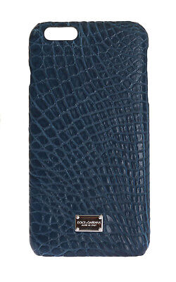 NEW $700 DOLCE & GABBANA Phone Case Blue Skin Leather Silver Logo iPhone6 Plus
