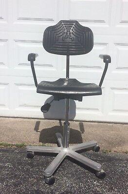 Vtg Work Seat Tiffin Rolling Drafting Stool Chair Polyurethane Seat Adjustable