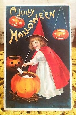 Antique Halloween Postcard, Ellen Clapsaddle, Girl Witch in Red Cape, JOLs, 1910