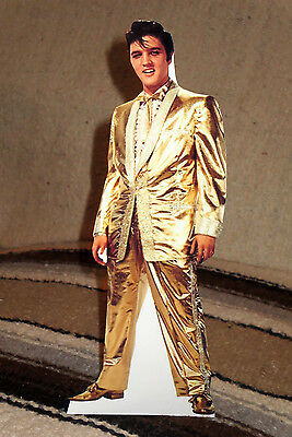 Elvis Presley In Gold Lame Suit Tabletop Standee 10 3/4