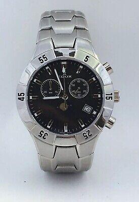 EDOX Black Dial Moon Phase Stainless Steel Men's Analog Wristwatch