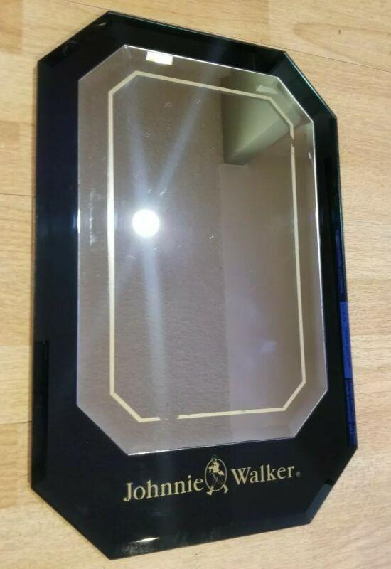 Vintage Johnnie Walker Black Scotch Rare Promotional Mirror Beveled Glass Retro