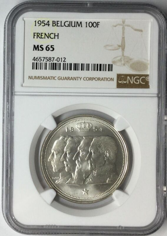 1954 100F French Belgium NGC MS65 #