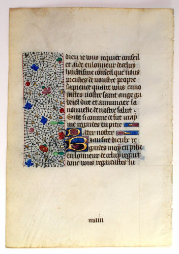 WRITTEN IN MEDIEVAL FRENCH, c.1450  ILLUMINATED MANUSCRIPT BOOK OF HOURS LEAF