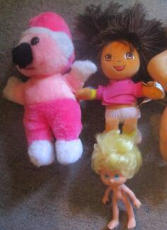 2 Soft Toys (One Is Dora) & Small Doll