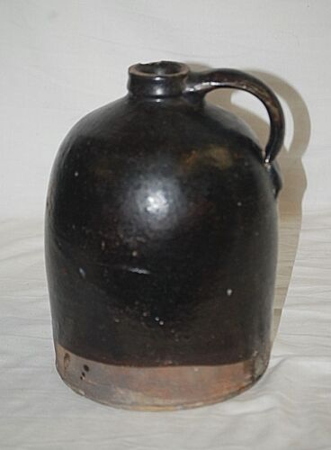 Old Vintage Antique Whiskey Jug Brown Stoneware Crock Primitive Country Farm b