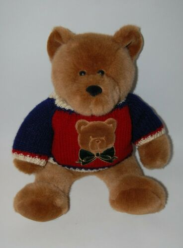 "Vintage Plush Teddy Bear Wearing A Teddy Bear Sweater 17"""
