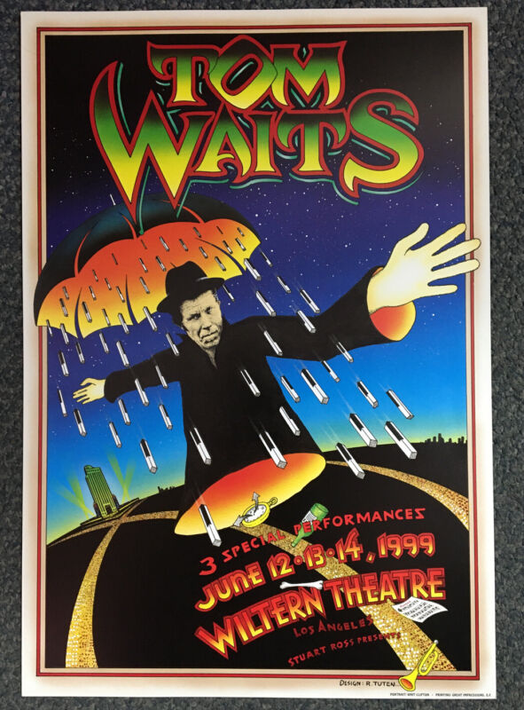 Tom Waits Wiltern Theatre 1999 Original First Printing Poster