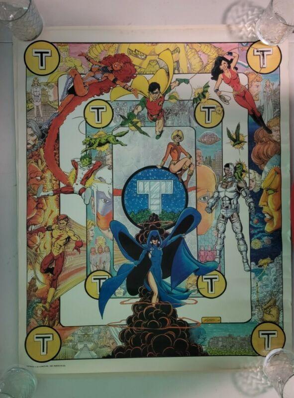"VTG 1983 TEEN TITANS DC COMICS CYBORG ROBIN GEORGE PEREZ PROMO POSTER 23"" X 18"""
