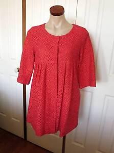 Korean Styled Red Lace Coat Dress - Size 10 Equivalent Alderley Brisbane North West Preview