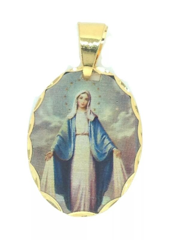 18k Virgen Milagrosa Gold Plated Medal with 20 inch Chain - Lady of Grace María