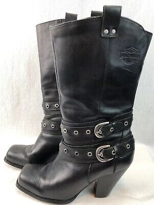 WOMENS HARLEY DAVIDSON LEATHER BOOTS SIZE 8M BLACK