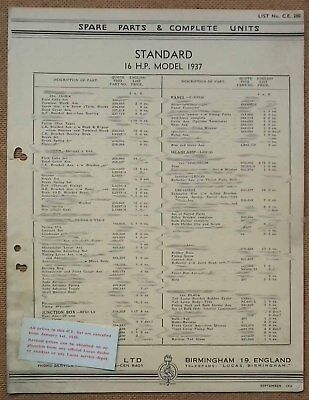 Standard 16hp model 1937   Lucas Parts List 280