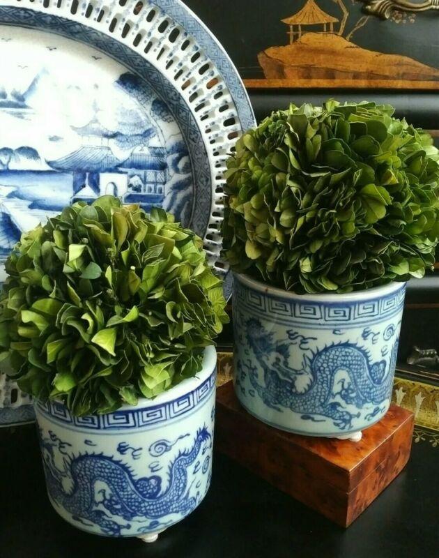 "Stunning Pair Blue White Porcelain Chinoiserie Brush Pot Cachepot Planters - 4"""