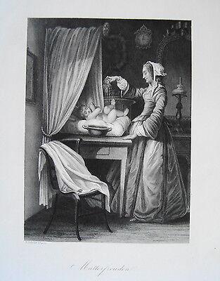 Mutterfreuden Kind Baby Mutter Taufe Taufgeschenk    alter  Stahlstich 1850