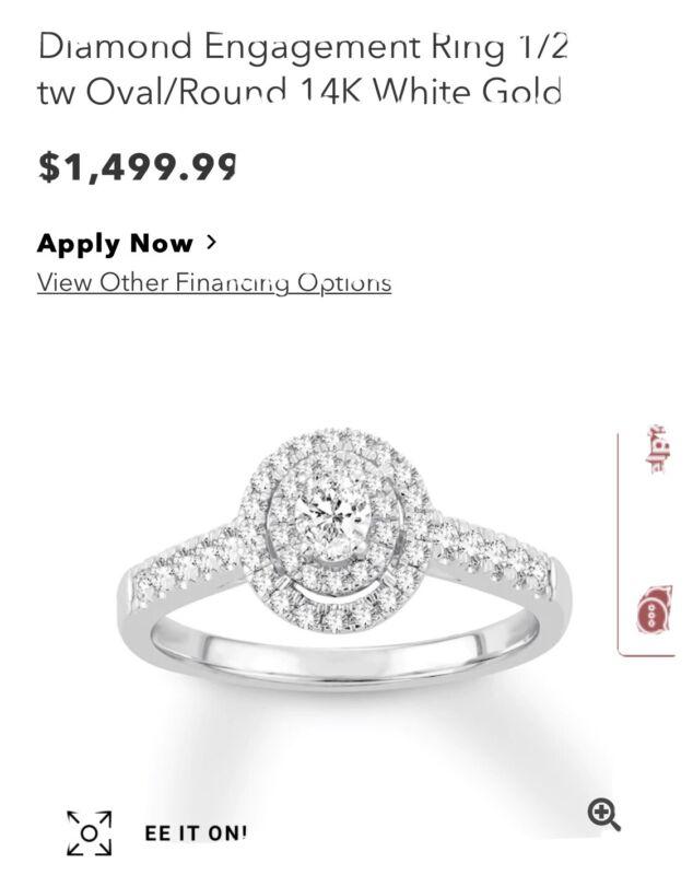 Oval/Round Diamond engagement ring size 4 (Kay Jewelers)