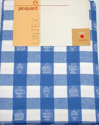 """Lintex Tablecloth ~ Blue and White Jacquard Diner ~ 60"""" x 84"""" Oval **NEW**"""