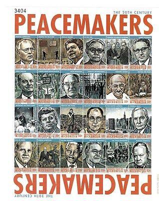 Micronesia - 2000 - Peacemakers Sheet of 24 Stamps - Gandhi - JFK - MLK Stamps
