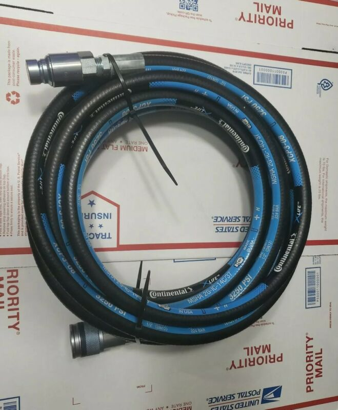 "Continental Hydraulic Hose 1/2"" XCP3-80 3250 PSI (25 FT) Quick Connects"