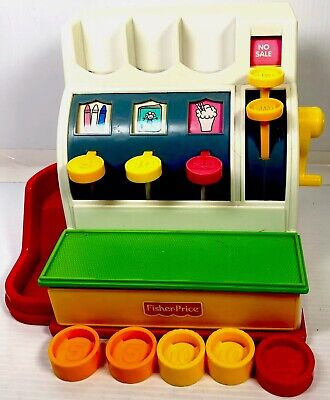 Vintage 1984 Fisher Price Cash Register Comes With 5 color coins!