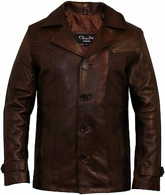 Men's Heist Antique Vintage Brown Leather Jacket - Charlie LONDON