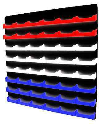 48 Pocket Red White And Blue Business Card Holder W Black Acrylic Wall Mount