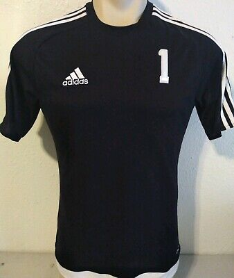 Adidas Climalite Black Soccer Jersey Shirt Size Small #1 Solo Spellout Rare Adidas Climalite Stretch Jersey