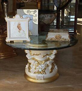 Tavolino via veneto ceramica foglia oro angeli arredo casa for Veneto arredo