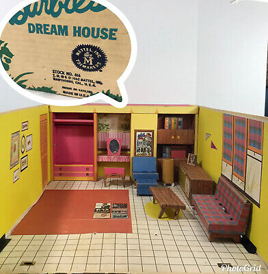Barbie Dream House 1962 With Furniture And Accessories Vintage Mattel Retro
