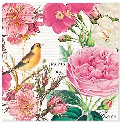 2 single Decoupage Cocktail Napkins Pink Rose Garden Floral Yellow Bird](Pink Cocktail Napkins)