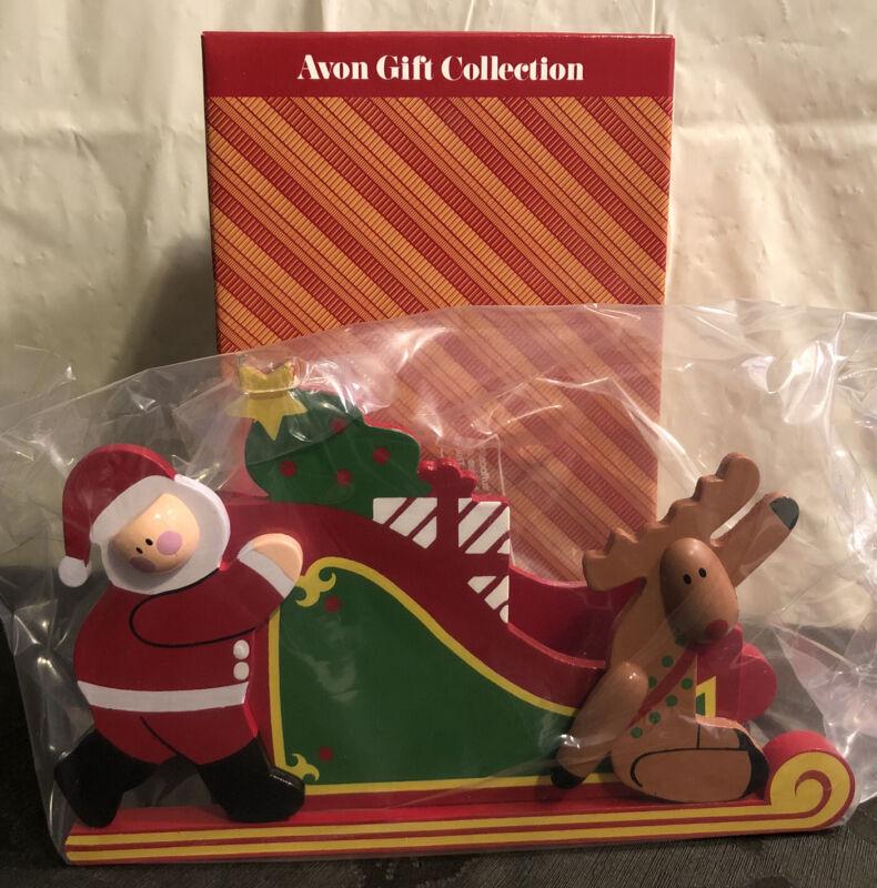 Vintage New in Box Avon Santa's Sleigh w/ Reindeer