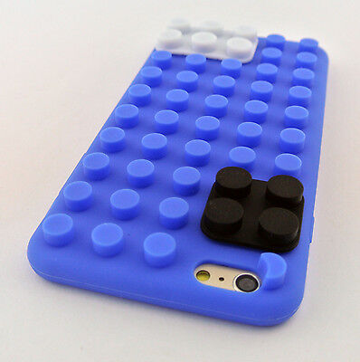 BLUE LEGO TOY BLOCKS SOFT SILICONE RUBBER SKIN CASE COVER APPLE IPHONE 6 6S 4.7