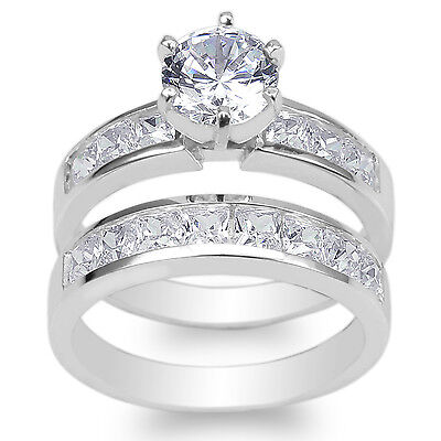 Ladies Set White Gold Plated 1.1ct Round CZ Wedding Channel Ring Size 4-10 ()
