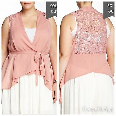 ..NWT $47 Wapi For Plus Crepe Wrap Around Vest Blouse Old (Wrap Around Vest)