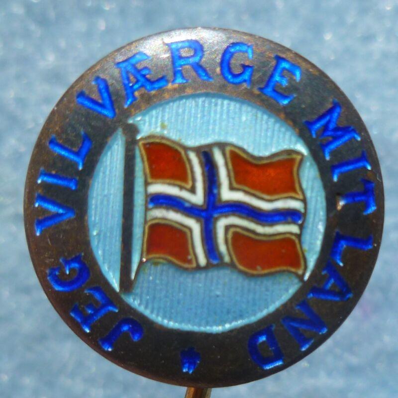 Jeg Vil Værge Mit Land Aksel Holmsen Enamel Norway Flag Stick Pin Vintage Rare