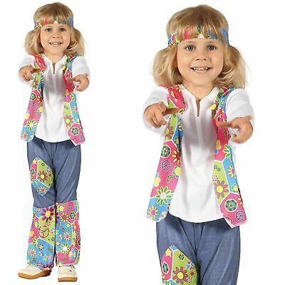 60s Mädchen Hippie Kleinkind Kostüm 70s Flower-Power - Hippie Kleinkind Kostüm
