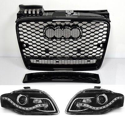 Ecke Vorne Schwarz Leder (Für Audi A4 B7 04-08 RS4 Look Wabengrill + Led Scheinwerfer Stoßstange Auspuff)