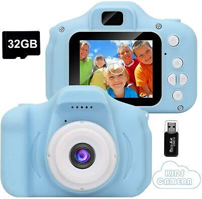 Appareil Photo Video HD Jeu Enfant Camera Numerique Rechargeable Antichoc Bleu