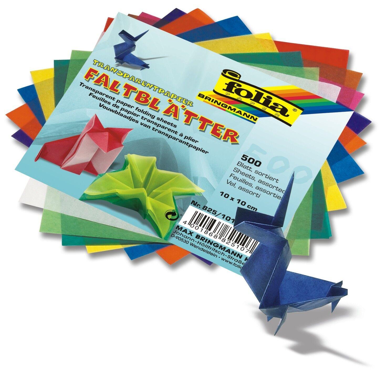 Faltblätter Origami Transparentpapier 10x10cm 42g/m²  500 Blatt in 10 Farben