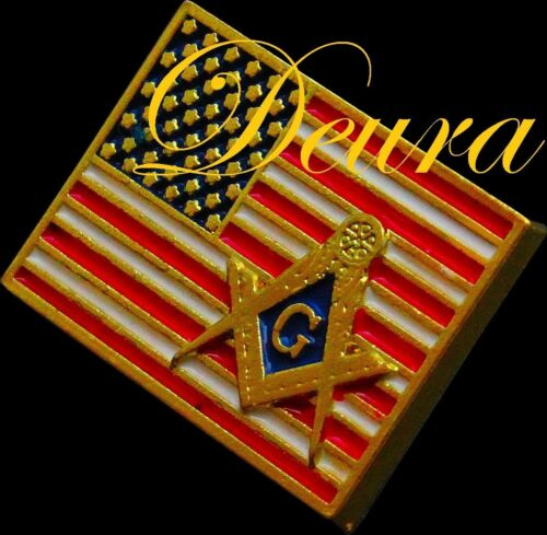 Masonic American Flag ENAMEL Lapel Pin Freemason SQUARE & COMPASS